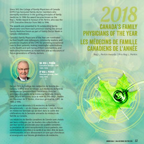 2018 Fondation pour l'avancement de la médecine familiale Les Médecins de famille canadiaens de l'année Prix Reg L. Perkins