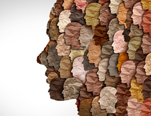 Image of an animated face made up of several different racial faces.